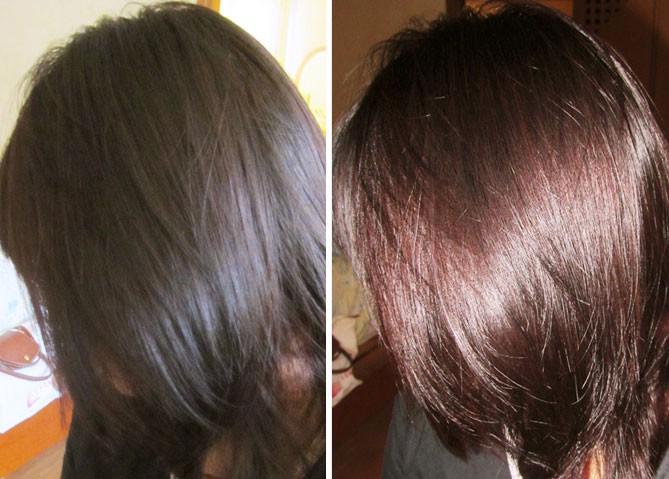 Хна на тёмные волосы результат фото